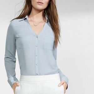 NWT Express Blue Slim Fit Portofino Blouse, Size S